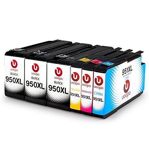 Preisvergleich Produktbild Uoopo Multipack Ersatz für HP 950XL 951XL Druckerpatronen (3 Schwarz 1 Cyan 1 Magenta 1Gelb) mit Hoher Reichweite, Compatible Patronen für HP Officejet Pro 8600 plus 8620 8610 8100 8630 276dw 8615 251dw 271dw 8625 8640 8660 Drucker, 6er-Packs