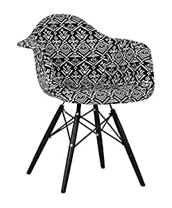 Chaise WOODEN ARMS -Patchwork Edition- INDIAN BLACK Inspiration DAW de Charles & Ray Eames Couleur Sin color
