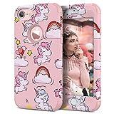 WE LOVE CASE Cover iPhone 6 Plus 360 Gradi Full Body Protection Custodia e Silicone Morbido Shockproof Hybrid 3 in 1 Protezione Coperture Caso per Apple iPhone 6 Plus / 6s Plus 5,5 - Rosa Unicorno