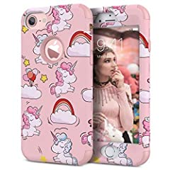 Idea Regalo - WE LOVE CASE Cover iPhone 7 Plus 360 Gradi Protection Custodia iPhone 8 Plus Rigida e Silicone Morbido Protezione Bumper Coperture Caso per iPhone 7 Plus / 8 Plus Rosa Unicorno