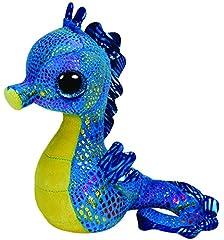 Idea Regalo - TY 36021 - Neptune - Cavalluccio marino con occhi glitterati e corpo colorato e glitterato Glubschi's, Beanie Boo's, 15 cm, colore: Azzurro