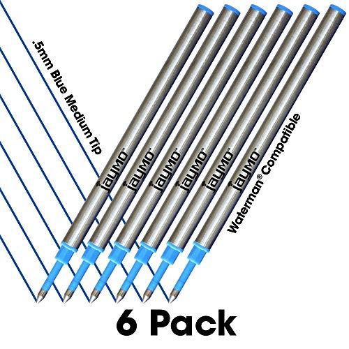 Jaymo - 6 - ricariche di inchiostro blu compatibili con la penna a rullo Waterman. Liscio inchiostro tedesco e punta fine da 5 mm - Confronta Waterman #S0112680 / 540961/54091
