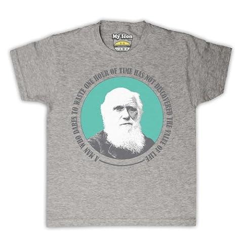 Charles Darwin Value Of Life T-shirt de L'Enfant, Gris, 5-6 ans