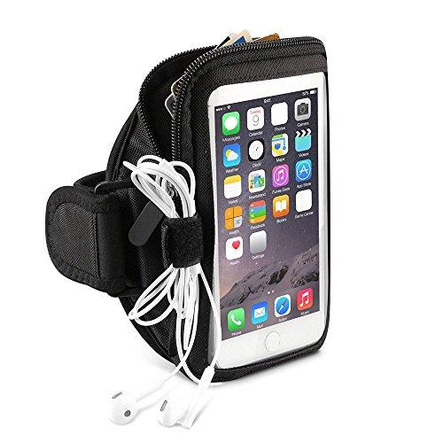 Negro correr Deportes Gimnasio Caja Brazalete con cremallera para Samsung Galaxy S8Plus/Nota 8/LG lápiz capacitivo 3/LG G6/P6/Motorola Moto G5S Plus/E4Plus/Z2play/BLU Vivo 8/R2/Wileyfox Swift 2X/Huawei P10Plus