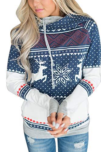 Ogsiwr Hässlicher Weihnachts-Kapuzenpullover für Frauen drucken Ren-Schneeflocke-Muster-Pullover (Farbe : Blau, Größe : XXL)