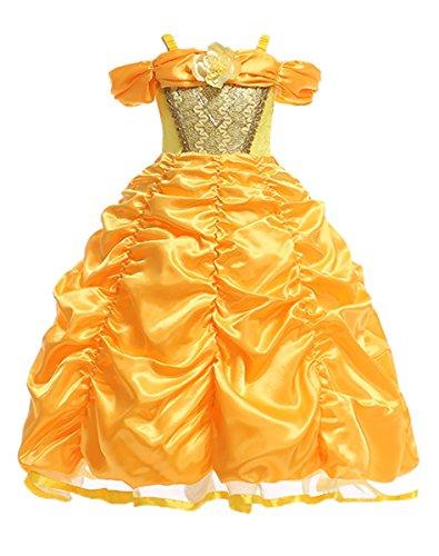 LCXYYY Mädchen Prinzessin Belle Einfarbig Drop Shoulder Falten Rock Kostüm Karneval Verkleidung Party Kleid Cosplay Hochzeit Blumenmädchenkleider Faschingskostüm Festkleid Weinachten Halloween Gelb