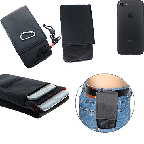 K-S-Trade(TM) Gürteltasche / Holster, Brusttasche Brustbeutel für Apple iPhone 7, schwarz. Travel Bag, Travel-Case vertikal. Schutz vor Diebstahl / Raub! (Wir zahlen Steuern in Deutschland!)
