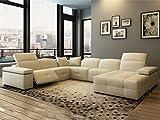 Leder Wohnlandschaft XXL U-Form mit Relaxfunktion Creme Ledersofa Georgia Polsterecke Couchgarnitur Teilleder (Standard)