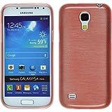 PhoneNatic Case für Samsung Galaxy S4 Mini Hülle Silikon rosa brushed Cover Galaxy S4 Mini Tasche + 2 Schutzfolien