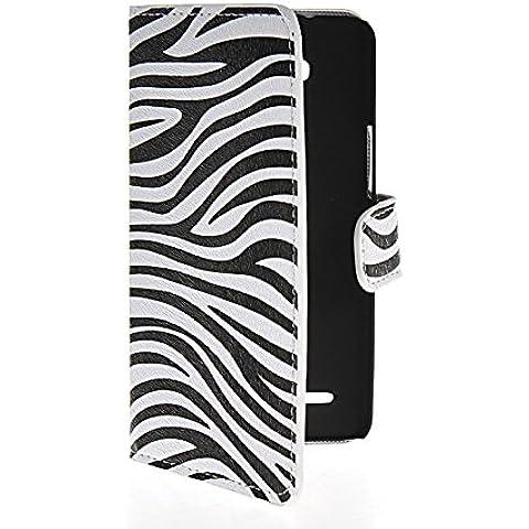 MOONCASE Zebra Custodia in pelle Protettiva Cuoio Portafoglio Flip Cover per Huawei Honor 3x G750