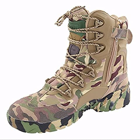LiliChan Men's 8 Inch Zipper Tactical Boot Army Boots Camouflage (9)