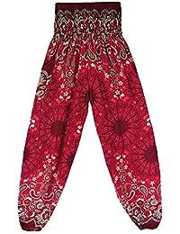 VJGOAL Unisex Moda Casual Estilo Boho Mandala con Estampado Nacional Pantalones Festival Hippy Batas Sueltas Cintura Alta…