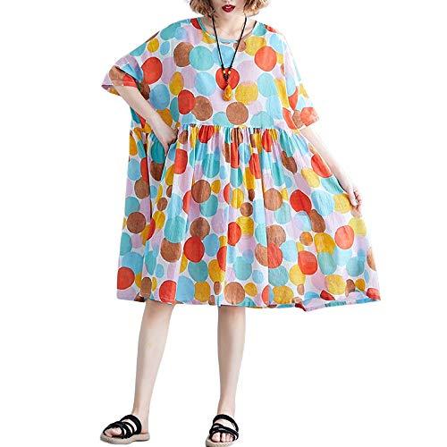 FeiXing158 2019 Vintage Tupfen 4XL 5XL 6XL Plus Size Boho Kleider Frauen Batwing Lose Sommer Sommerkleid Big Swing Baumwolle Leinen Kleider (Mickey Mouse-mini-cutter)