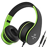 Sound Intone I68 faltbarer On-Ear Kopfhörer Headset, Lautstärkeregelung, Mikrofon und 3,5 mm Klinkestecker für PC/ Smart Phone/Ipad/ Ipod(Schwaz/Grün)