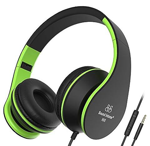 Sound Intone I68 faltbarer On-Ear Kopfhörer Headset, Lautstärkeregelung, Mikrofon und
