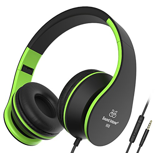 Sound Intone I68 Foldable Portable 3.5mm High-Performance Over-ear Headphones, Adults/Kids Lightweight Headphones, In-line Volume Control and Microphone, Compatible with Most Phones/Apple/Samsung/MP3 Players/PC/Laptops(Black and Green)
