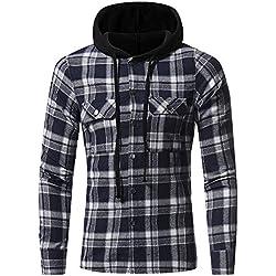 Blusa de Hombre, BaZhaHei, Camisetas de Cuadros Ocasionales de otoño de los Hombres Camisa de Manga Larga Jersey Blusa con Capucha Superior Manga Larga de Color Block con Capucha para Hombre