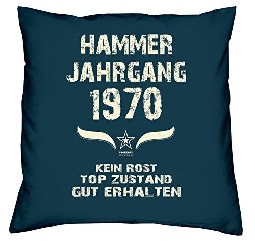 Soreso Design Geschenk zum 49. Geburtstag Hammer Jahrgang 1970 :-: Geburtstags Kissen Größe: 40x40cm Farbe: Navy-blau & Geburtstags-Urkunde