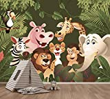 Selbstklebende Fototapete - Kindertapete - Dschungeltiere Cartoon IV - Vintage - 200x150 cm - Wandtapete – Poster – Dekoration – Wandbild – Wandposter - Bild – Wandbilder - Wanddeko