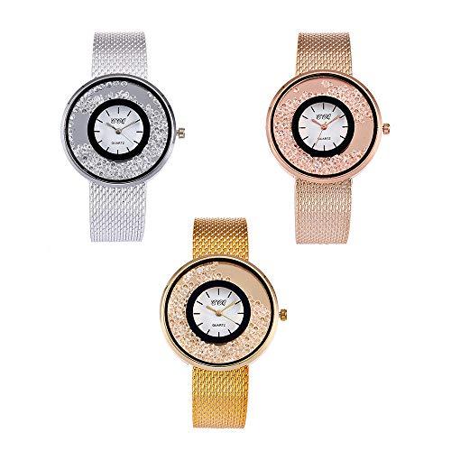 Souarts Damen Silber Farbe Edelstahl Uhrarmband Treibsand Armbanduhr Quartzuhr Analog Armreif Uhr mit Batterie