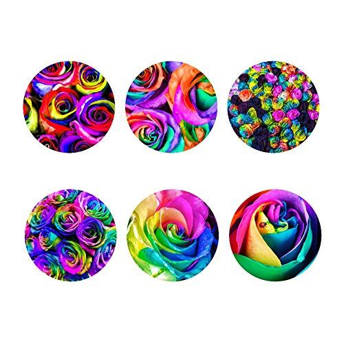Hugs Idea Untersetzer mit Blumenmotiv, 6 Stück, wasserabsorbierend, rutschfest, 9 x 9 x 1,8 cm, Flower1, Einheitsgröße -