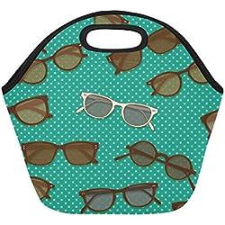 Bolsa de almuerzo de neopreno aislado Gafas de sol retro Bolsas de asas gruesas térmicas reutilizables de gran tamaño para cajas de almuerzo para exteriores, trabajo, oficina, escuela