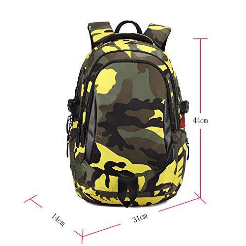 BOZEVON Jungen Mädchen Wasserdichte Rucksack für Kinder Unisex Schulrucksäcke Rucksack für Reisen, Wandern Gelb-S