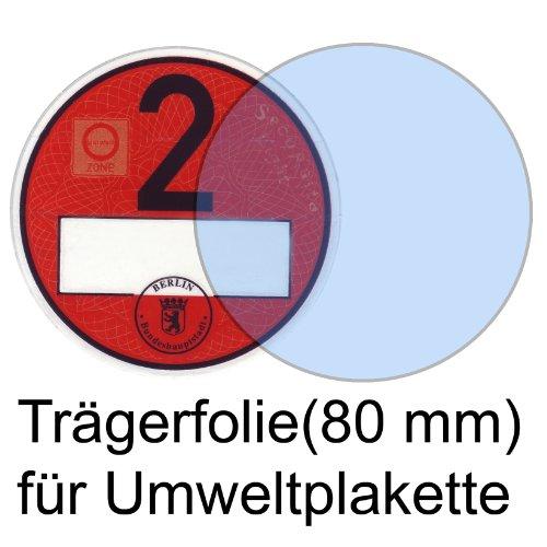 Durchsichtige Trägerfolie für Umweltplakette/Feinstaubplaketten 80 mm, NEU