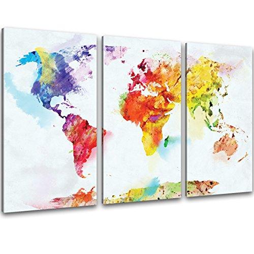 XXL Kunstdruck - 3-teilig Wand Bilder bunte Weltkarte auf Leinwand im Aquarell Design Format 120x80cm - fertig auf Keilrahmen