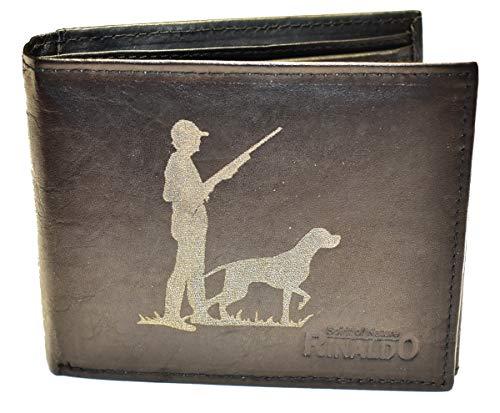 Wotan Textil Jägersmann mit Hund - Herrengeldbörse Rindleder