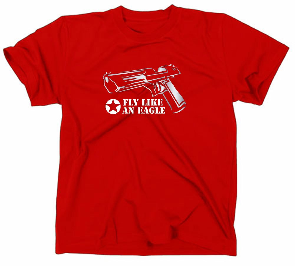 Styletex23 - T-shirt motivo arma da fuoco Desert Eagle/Magnum MK, Rosso (rosso), XL