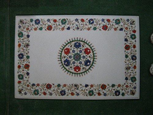 91,4x 61cm weiß Marmor Terrasse Beistelltisch Top Multi Farbe Stein Inlay Blumen Design