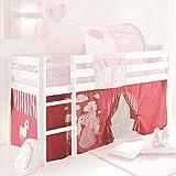 Vorhang 3-teilig 100% Baumwolle Prinzessin pink weiß inkl Klettband für Kinderzimmer Hochbett Etagenbett Kinderbett Gardine Stoffvorhang