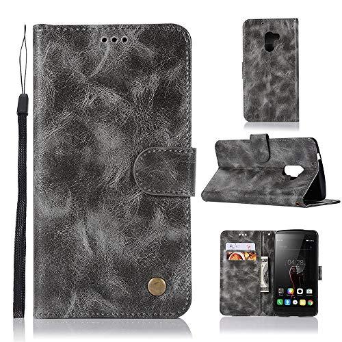 JARNING Lenovo K4 Note/A7010/Vibe X3 Lite Hülle SchutzHülle Prämie PU Leder Flip Case Tasche Stoßsichere LederHülle mit Magnetverschluss Kartenfach -Grau