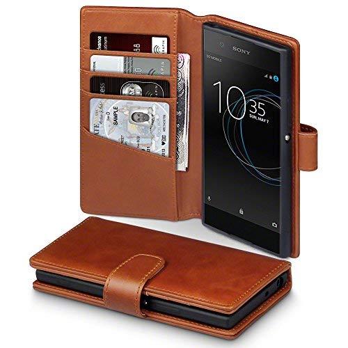 Terrapin, Kompatibel mit Sony Xperia XA1 Hülle, [ECHT LEDER] Brieftasche Case Tasche mit Standfunktion Kartenfächer und Bargeld - Cognac EINWEG