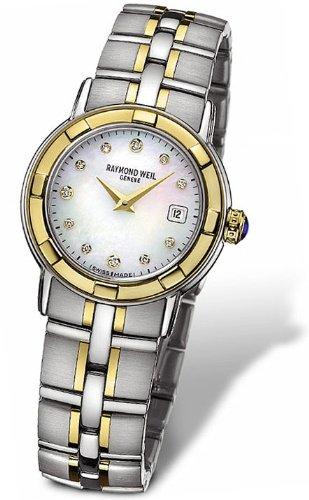 Raymond Weil Parsifal de dos tonos de acero inoxidable y oro 18K mujer reloj fecha fregona 9440-stg-97081