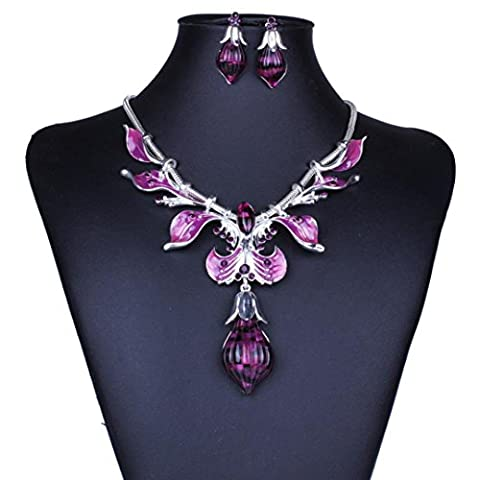 Necklace Earrings Set,Clode®1Set Elegant Women Clothing Decoration Vintage Leaves Necklace Statement Earrings Jewelry Set Suit for Wedding Birthday Party (Purple)