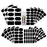 Xstar Chalkboard Labels, 214 Stück 4 Größen Chalkboard-Aufkleber, wasserdichtes wiederverwendbares Tafel-Aufkleber-Kit mit 2 Kreidemarkern zum Dekorieren von Gläsern, Speisekammer, Zuhause und Büro