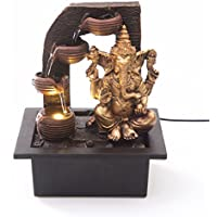 Ganesha with Water Cups Indoor Water Fountain with LED Light | Size 21 * 17.5 * 25 Cm | 3 Pin UK Plug Included |