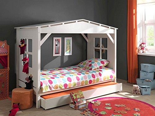 Vipack Spielbett Pino, 90 x 200 cm, Haus, mit Bettschublade, Kiefer teilmassiv, weiß lackiert
