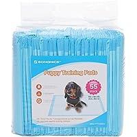 SONGMICS Toallitas de entrenamiento para mascotas 50 + 5 Extra GRATIS 60 x 90 cm Almohadillas desechables Diseño de 5 capas Super absorbente Capa impermeable con revestimiento de plástico para Cachorros Perros Gatos PTD95BU