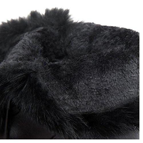 COOLCEPT Femmes Fourrure Synthetique Bottes Augmentation Black