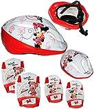 Unbekannt 5 TLG. Set _ Kinderhelm & Knieschützer & Ellenbogenschützer -  Disney Minnie Mouse / Maus  - Fahrradhelm - Gr. 52 - 56 cm - Circa 3 bis 15 Jahre - Größen ve..