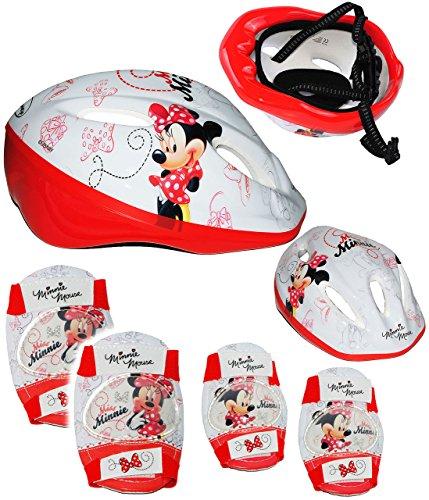 """5 tlg. Set _ Kinderhelm & Knieschützer & Ellenbogenschützer - """" Disney Minnie Mouse / Maus """" - Fahrradhelm - Gr. 52 - 56 cm - circa 3 bis 15 Jahre - Größen verstellbarer - mit Drehring / mitwachsender Helm - Gelenkschützer Knieschoner / Protektor - für Kinder Mädchen / größenverstellbar Schutz - Minnie / Playhouse - Blumen - Mädchenhelm / Kinderfahrradhelm - z.B. Fahrrad / Inliner - Inline Skates / Roller - Rollschuhe - Inliner Skateboard"""
