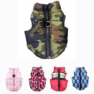 LA VIE Hundemantel Winddicht Warme Hundejacke Weste Wintermantel Hundebekleidung für Kleine Mittlere Hunde Camouflage Color M