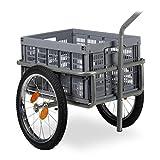 Relaxdays Remorque de vélo 2 en 1 avec remorque et Chariot Pliable Gris Charge Max. 50 kg