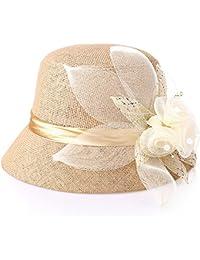 KAXIDY Femmes Filles Casquette Fleur Chapeau de Paille Anti-UV Casquettes Visières Chapeau de Soleil Pour Plage Voyage