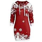 OSYARD Weihnachts Pullover Kleid Slim Fit Christmas Hoodie Sweatshirt Damen, Mode Frauen Langarmshirt Frohe Weihnachten Snowflake Printing Tops Cowl Neck Strickpullover Lang Bluse Shirt mit Kapuze