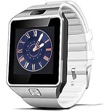 Reloj Inteligente, CulturesIn Pulsera con Pantalla Táctil Bluetooth con Cámara/Ranura para Tarjeta SIM/Análisis de Podómetro para Android (Funciones Completas) y para IOS (Funciones Parciales)(blanco)