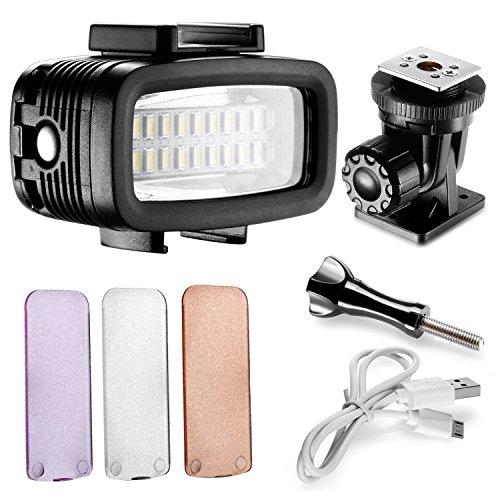 Neewer Wasserdicht bis 131 ft / 40 m Unterwasser 20 LED 700LM Blitz Dimmbare Füll Nachtlicht mit 3 Farbfilter (Weiß, Orange, Lila) für GoPro Hero 7 6 5 4 3+ Action-Kamera und alle DSLR-Kameras